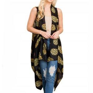 NEW Black Pineapple Sleeveless Kimono Cardigan